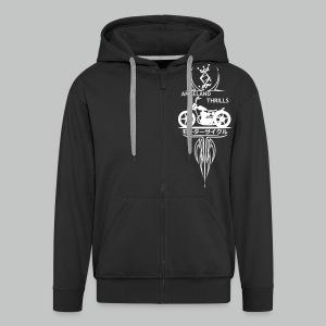 Zipped Hoodie Men - Vertical Twin Addiction -White logo Bikes - Men's Premium Hooded Jacket