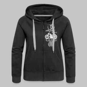 Zipped Hoodie Women - Vertical Twin Addiction -White logo Bikes - Women's Premium Hooded Jacket
