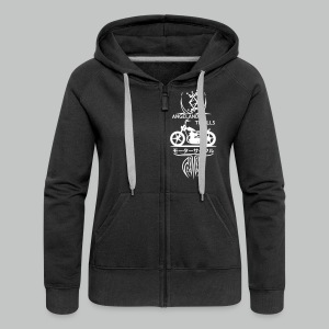 Zipped Hoodie Women - Vertical Twin Addiction -White logo Bikes - Women's Premium Hooded Jacket
