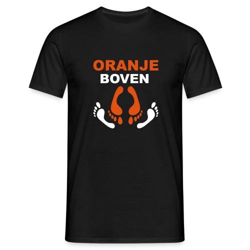 T-shirt Oranje boven met voetjes.. - Mannen T-shirt
