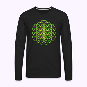 Flower of Live 1: UV-Active Longsleeve  - Premium langermet T-skjorte for menn