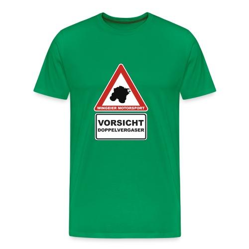 Vorsicht Doppelvergaser T-Shirt by WINGEIER MOTORSPORT - Männer Premium T-Shirt
