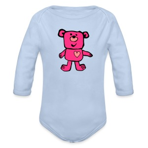 A Friendly bear - pink - Organic Longsleeve Baby Bodysuit