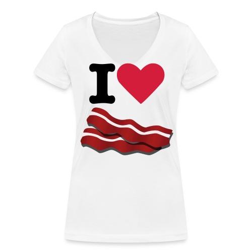 I heart bacon - Women's Organic V-Neck T-Shirt by Stanley & Stella