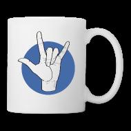 Tassen & Zubehör ~ Tasse ~ Fingeralphabet ILY white / blue