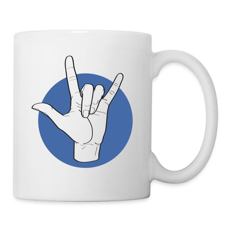 Fingeralphabet ILY white / blue - Tasse