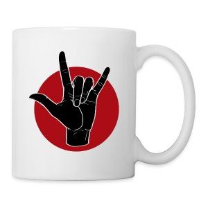 Fingeralphabet ILY black / red - Tasse