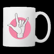 Tassen & Zubehör ~ Tasse ~ Fingeralphabet ILY white / pink