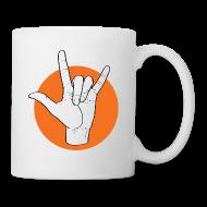 Tassen & Zubehör ~ Tasse ~ Fingeralphabet ILY white / orange