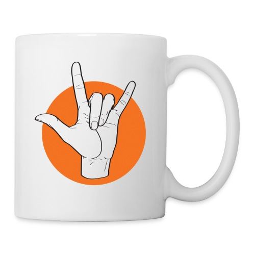 Fingeralphabet ILY white / orange - Tasse