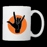 Tassen & Zubehör ~ Tasse ~ Fingeralphabet ILY black / orange