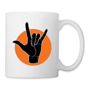 Fingeralphabet ILY black / orange - Tasse