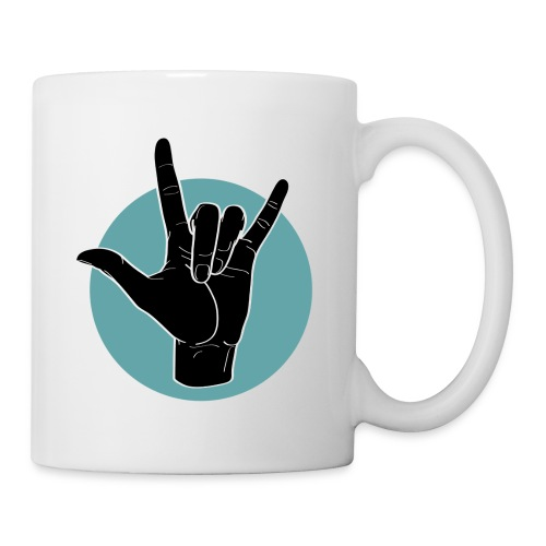 Fingeralphabet ILY black / green - Tasse