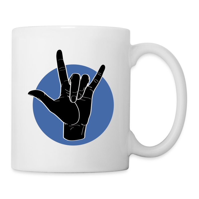 Fingeralphabet ILY black / blue - Tasse