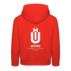 Sudadera con capucha niño roja- UDIMA - Sudadera con capucha premium niño