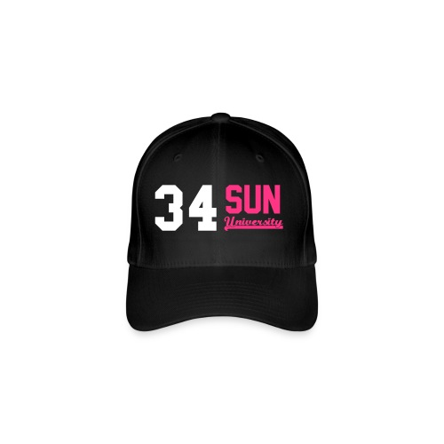 Casquette 34 Sun University Black white Pink Neon - Casquette Flexfit