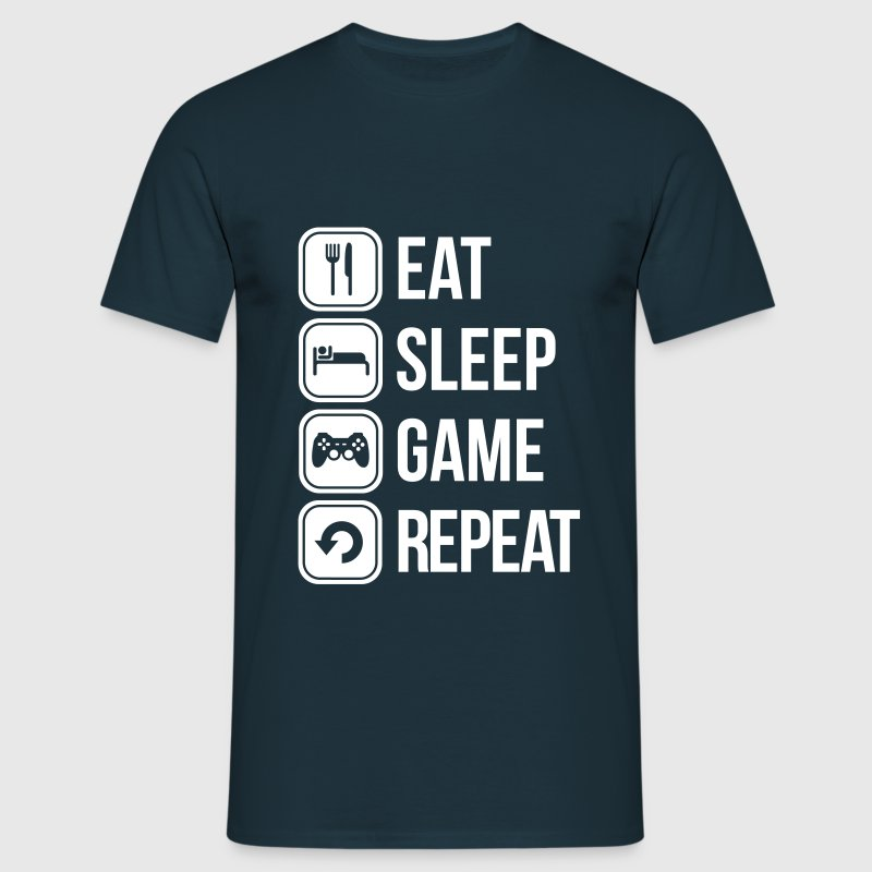 Eat sleep game repeat t shirt spreadshirt for Game t shirts uk