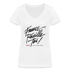 T-SHIRT col V femme France réveille toi - T-shirt bio col V Stanley & Stella Femme