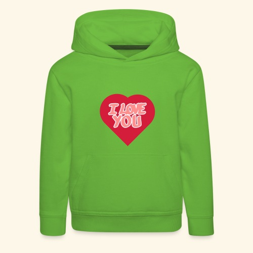 I love you  3 couleurs perso - Pull à capuche Premium Enfant