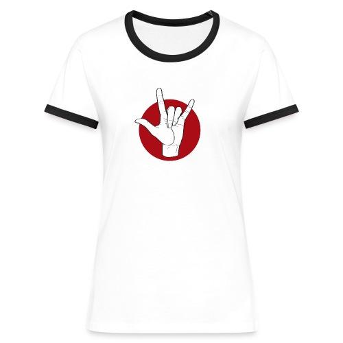 Fingeralphabet ILY white / red - Frauen Kontrast-T-Shirt