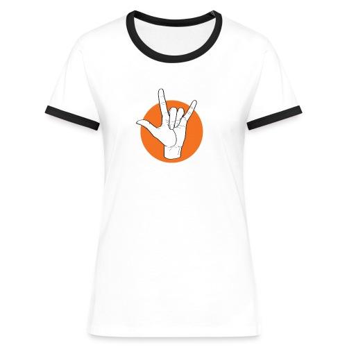 Fingeralphabet ILY white / orange - Frauen Kontrast-T-Shirt