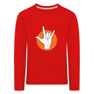 Fingeralphabet ILY white / orange - Kinder Premium Langarmshirt