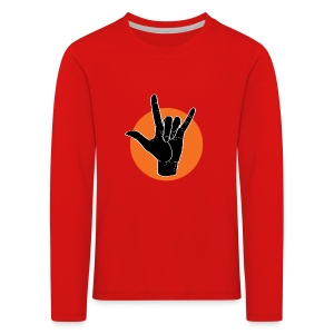 Fingeralphabet ILY black / orange - Kinder Premium Langarmshirt