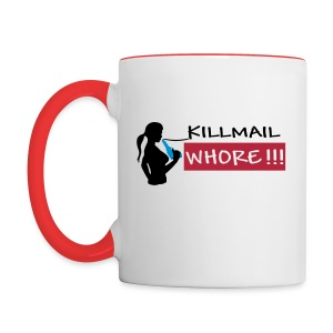 Killmail Whore, black-red-blue - Tasse zweifarbig