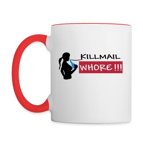 Killmail Whore, black-red-blue - Tasse zweifarbig