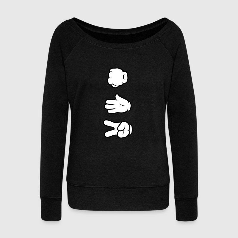Comic Hands - Rock Paper Scissors Hoodies & Sweatshirts - Women's Boat Neck Long Sleeve Top