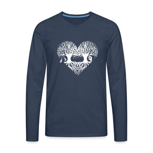 valentinstag herz liebe baum paar wurzeln schaukel T-Shirts - Männer Premium Langarmshirt