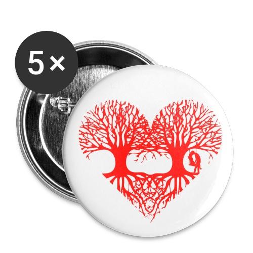 valentinstag herz liebe baum paar wurzeln schaukel T-Shirts - Buttons groß 56 mm (5er Pack)
