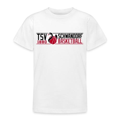 Kinder T-Shirt weiß, Flockdruck schwarz/rot - Teenager T-Shirt