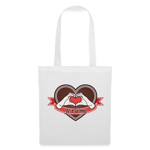 heart-brown Je t'aime - Stoffbeutel
