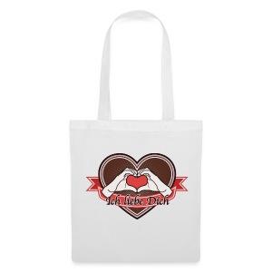 heart-brown Ich liebe Dich - Stoffbeutel