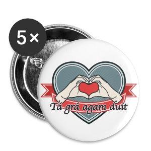heart-blue Tá grá agam duit - Buttons groß 56 mm
