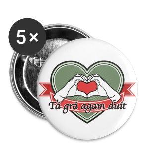 heart-green Tá grá agam duit - Buttons groß 56 mm