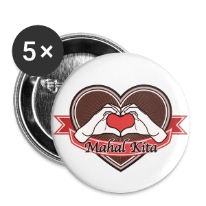 heart-brown Mahal kita - Buttons groß 56 mm
