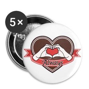 heart-brown Always - Buttons groß 56 mm