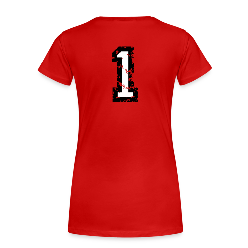 Nummer 1 T-Shirt (Damen Rot) Rücken - Frauen Premium T-Shirt