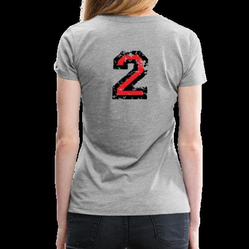 Nummer 2 T-Shirt (Damen Grau) Rücken - Frauen Premium T-Shirt