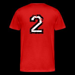 Nummer 2 T-Shirt (Herren Rot) Rücken - Männer Premium T-Shirt