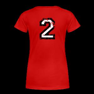 Nummer 2 T-Shirt (Damen Rot) Rücken - Frauen Premium T-Shirt