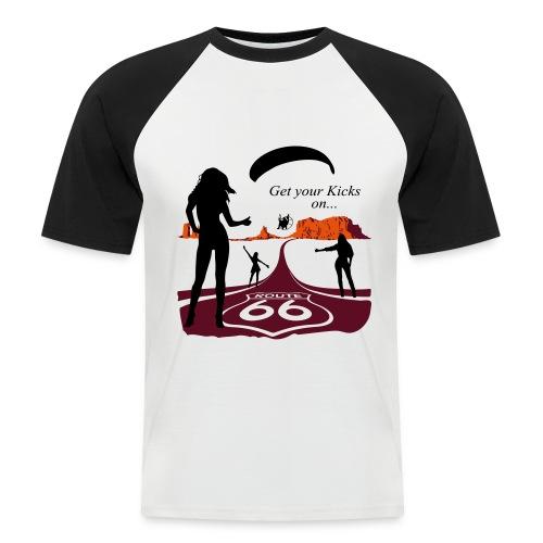Route 66 Black n White - Männer Baseball-T-Shirt