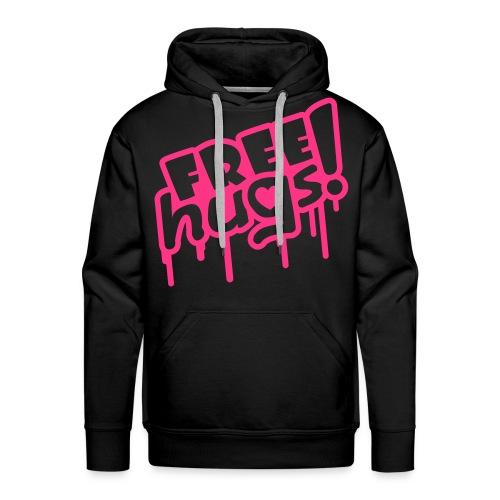 FREE hugs genser! (rosa skrift) - Premium hettegenser for menn