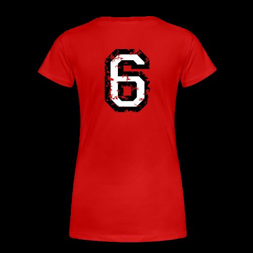 Nummer 6 T-Shirt (Damen Rot) Rücken - Frauen Premium T-Shirt
