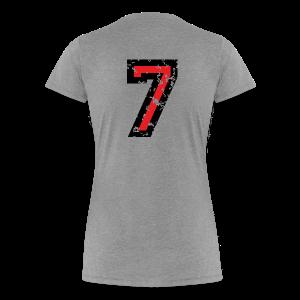 Nummer 7 T-Shirt (Damen Grau) Rücken - Frauen Premium T-Shirt