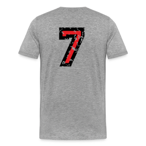 Nummer 7 T-Shirt (Herren Grau) Rücken - Männer Premium T-Shirt