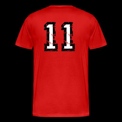 Rückennummer 11 T-Shirt (Herren Rot) - Männer Premium T-Shirt