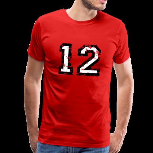Nummer 12 T-Shirt (Herren Rot) - Männer Premium T-Shirt